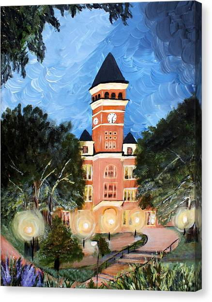 Clemson University Canvas Print - Tillman By Night by Ashley Galloway