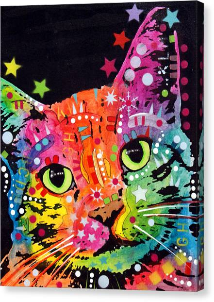 Cat Canvas Print - Tilted Cat Warpaint by Dean Russo Art