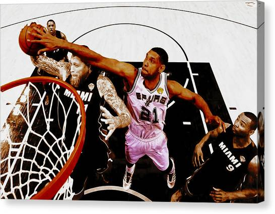 University Of Miami Canvas Print - Tim Duncan And Birdman by Brian Reaves