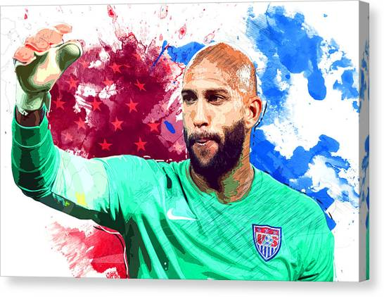 Chelsea Fc Canvas Print - Tim Howard by Semih Yurdabak