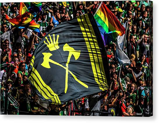 Portland Timbers Canvas Print - Timbers Army Flag by Roscoe Myrick