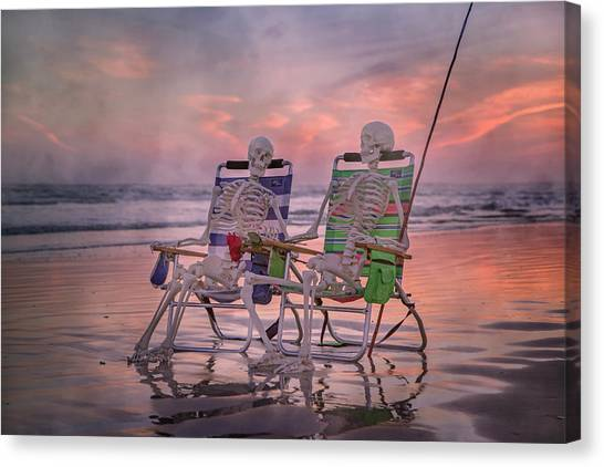 Fishing Poles Canvas Print - Time And Time Again by Betsy Knapp