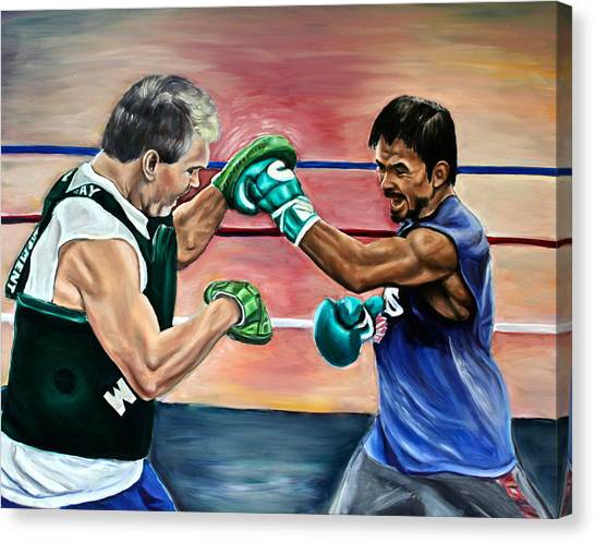 Manny Pacquiao Canvas Print - Time In The Ring by Dawn Graham