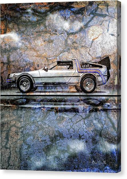 Back To The Future Canvas Print - Time Machine Or The Retrofitted Delorean Dmc-12 by Bob Orsillo