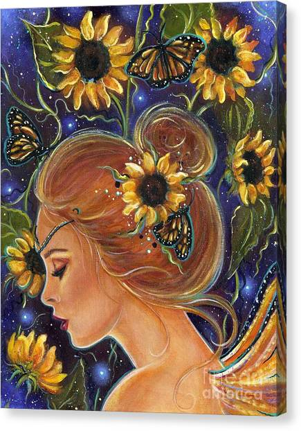 Sunflower Canvas Print - Time To Be Free by Renee Lavoie