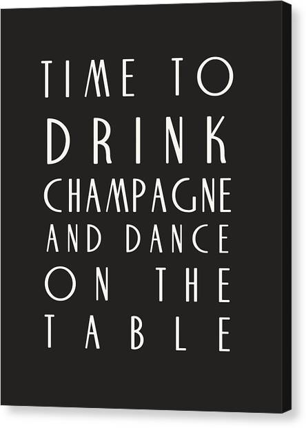 Black And White Canvas Print - Time To Drink Champagne by Georgia Fowler