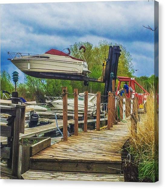 Forklifts Canvas Print - Time To Get The Boat Out! #marina by Clinton Brandhagen