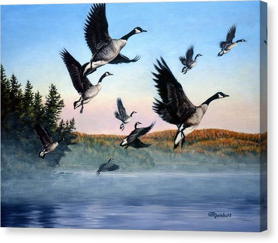 Canada Goose Canvas Print - Time To Go by Richard De Wolfe