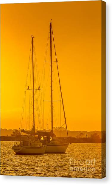 Palm Trees Sunsets Canvas Print - Time To Sail by Marvin Spates