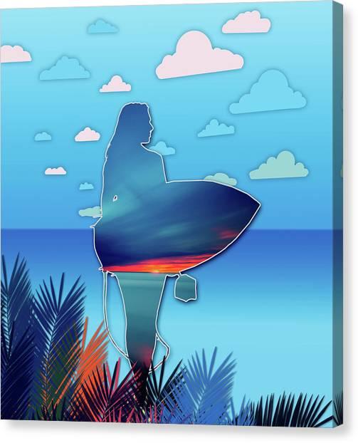 Venice Beach Canvas Print - Time To Surf by Bekim Art