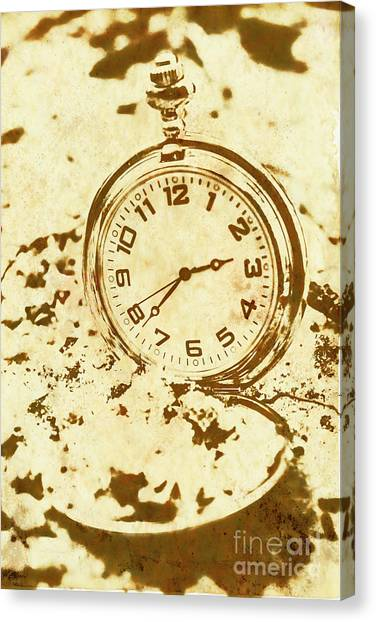 Retro Styled Canvas Print - Time Worn Vintage Pocket Watch by Jorgo Photography - Wall Art Gallery