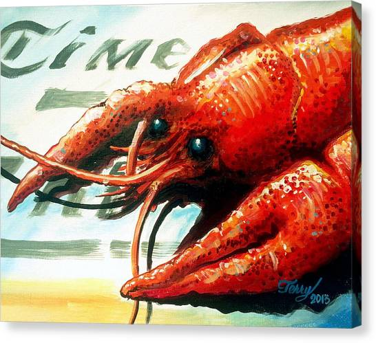 Times Picayune Crawfish Canvas Print by Terry J Marks Sr