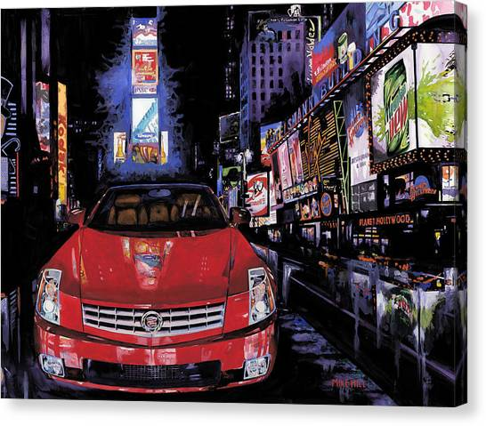 Mountain Dew Canvas Print - Times Square ....cadillac by Mike Hill