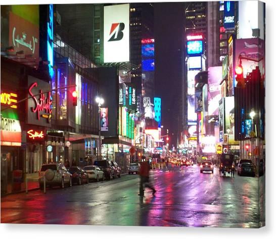 Times Square In The Rain 2 Canvas Print