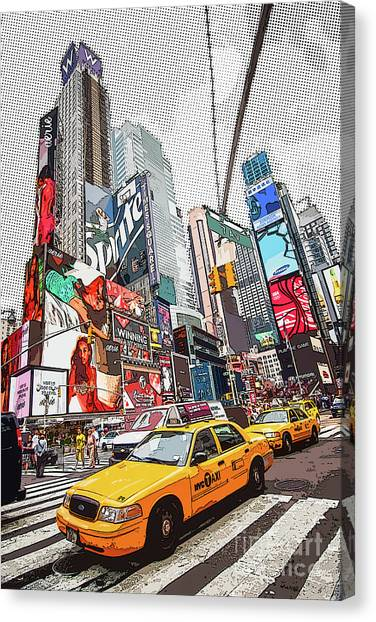 New York City Taxi Canvas Print - Times Square Pop Art by Delphimages Photo Creations