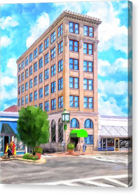 Canvas Print featuring the mixed media Timmerman Building - Andalusia - First National Bank by Mark Tisdale