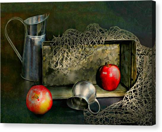 Still Life With Fish Canvas Print - Tin Apples by Diana Angstadt