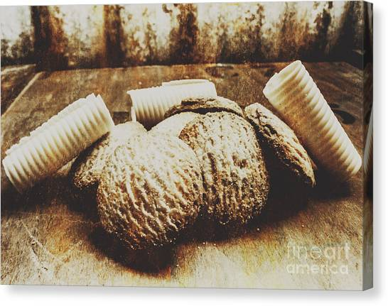 Biscuits Canvas Print - Tin Sign Baked Butter Biscuits by Jorgo Photography - Wall Art Gallery