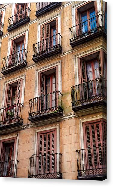 Canvas Print featuring the photograph Tiny Iron Balconies by T Brian Jones