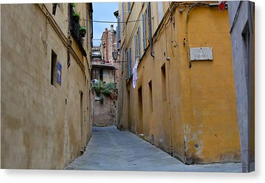 Tiny Street In Siena Canvas Print