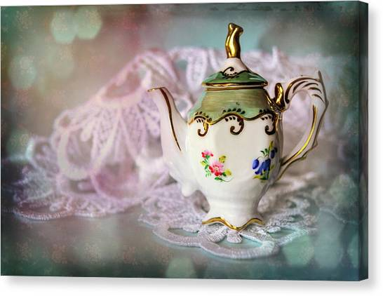 Tea Time Canvas Print - Tiny Teapot  by Carol Japp