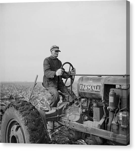 Tip Estes, A Hired Hand On An Indiana Canvas Print by Everett