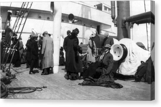 Titanic, Survivors Aboard Rescue Ship Canvas Print by Everett