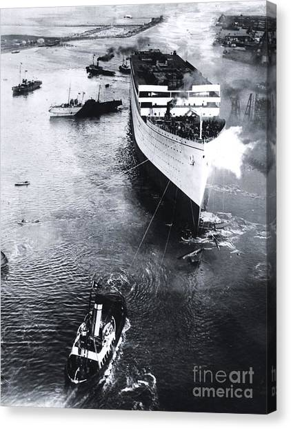 Belfast Canvas Print - Titanic's Sister Ship Olympic's Launch by The Titanic Project