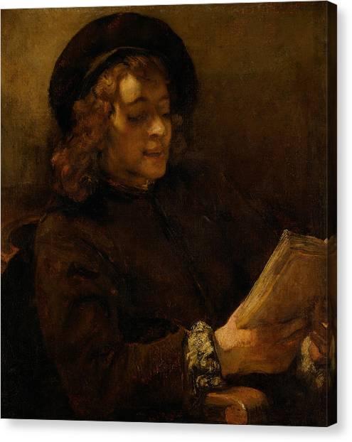 Rembrandt Canvas Print - Titus Van Rijn, The Artist's Son, Reading by Rembrandt