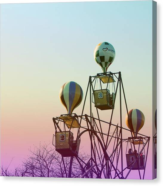 Hot Air Balloons Canvas Print - Tivoli Balloon Ride by Linda Woods