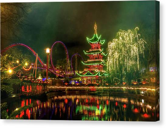 Christmas Lights Canvas Print - Tivoli Gardens In Copenhagen By Night  by Carol Japp