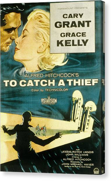 1950s Movies Canvas Print - To Catch A Thief, Poster Art, Cary by Everett
