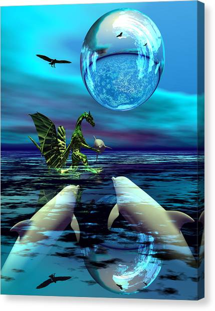 Dolphins Canvas Print - To Dine Or Not To Dine by Claude McCoy