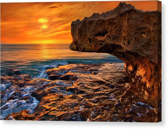 To God Be The Glory - Sunrise Over Ocean Reef Park On Singer Island Florida Canvas Print