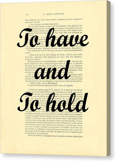 Marriage Canvas Print - To Have And To Hold by Madame Memento