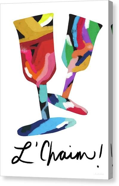 Easter Canvas Print - To Life Wine Glasses- Art By Linda Woods by Linda Woods