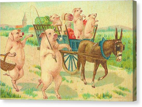 To Market To Market To Buy A Fat Pig 86 - Painting Canvas Print