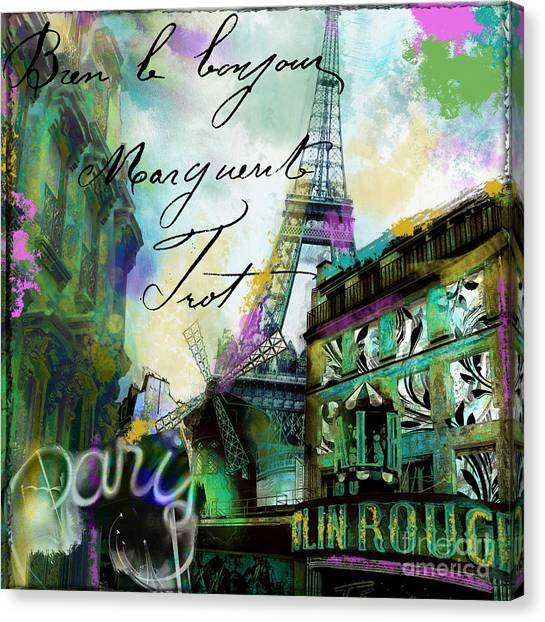 Paris Skyline Canvas Print - To Paris With Love by Mindy Sommers