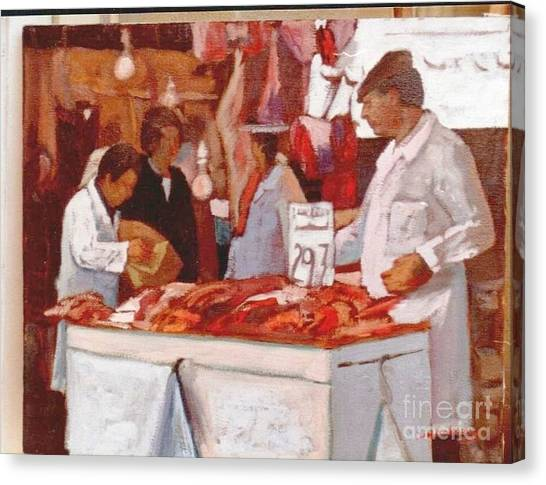 To The Butchers Canvas Print by George Siaba