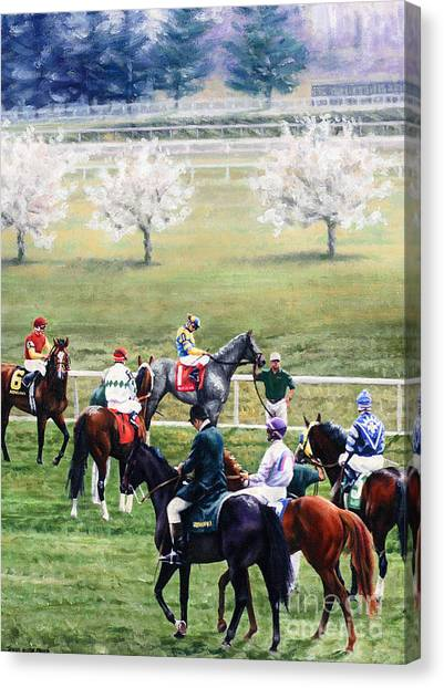 Horseracing Canvas Print - To The Gate At Keeneland by Thomas Allen Pauly