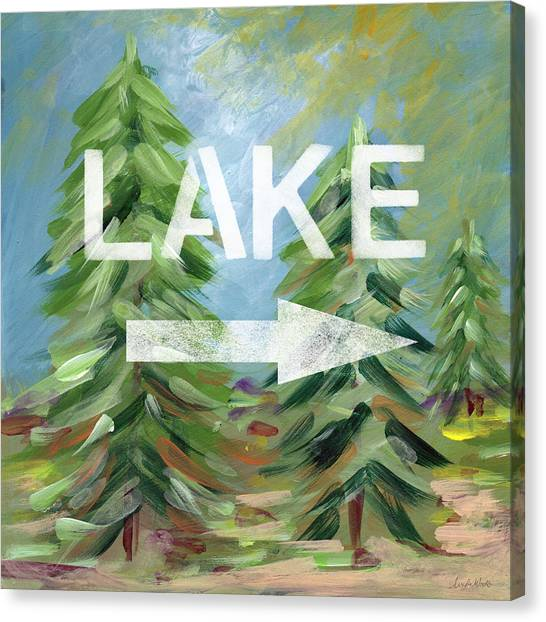 Pine Trees Canvas Print - To The Lake - Art By Linda Woods by Linda Woods