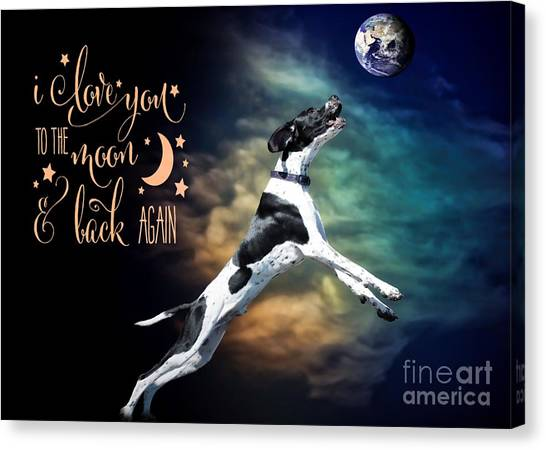 Canvas Print featuring the digital art To The Moon by Kathy Tarochione