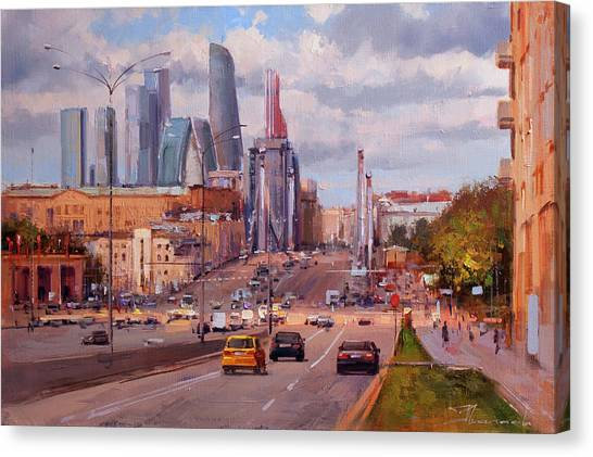 Moscow Canvas Print - To Work. Krymsky Val Street. by Alexey Shalaev