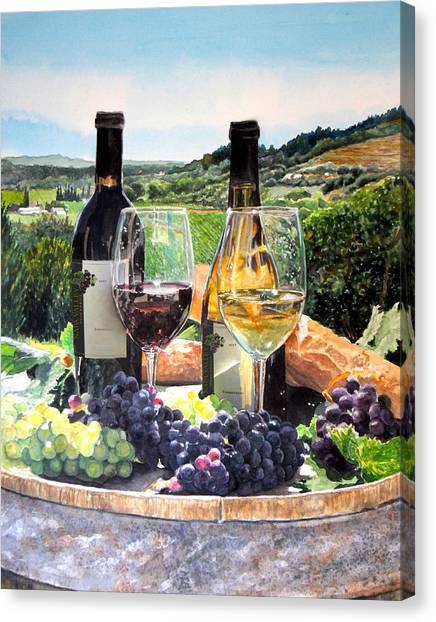 Wine Country Canvas Print - Toast Of The Valley by Gail Chandler