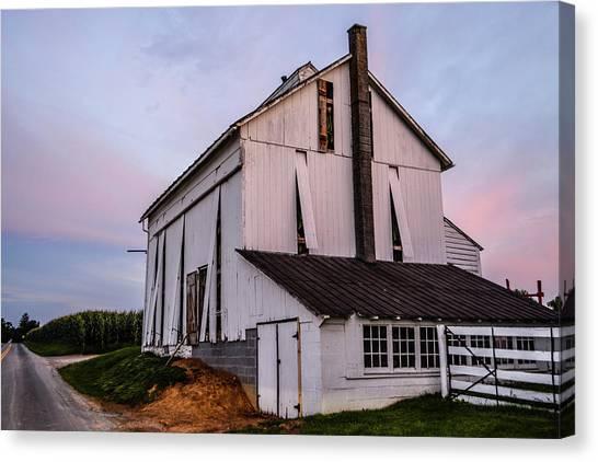 Tobacco Barn At Dusk Canvas Print