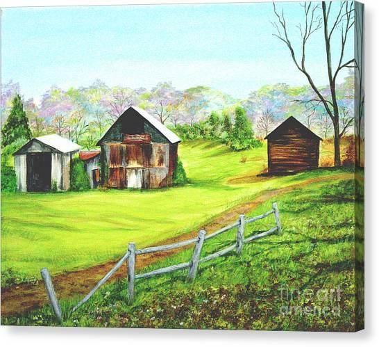 Tobacco Barns North Carolina Canvas Print by Pauline Ross