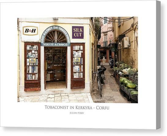 Tobaconist In Kerkyra - Corfu Canvas Print