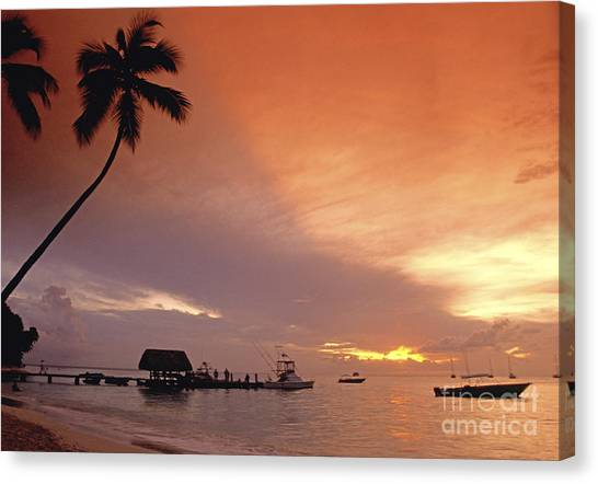 Canvas Print featuring the photograph Tobago, Pigeon Point Sunset, Caribbean Sea, by Juergen Held