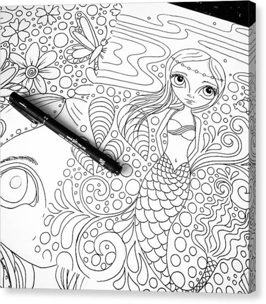Fantasy Canvas Print - Today: Line Drawing. ✒️ by Jaz Higgins