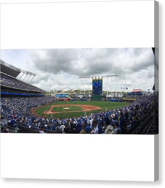 Kansas City Royals Canvas Print - Take Me Out To The.... by Meghan Andrews